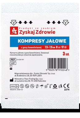 Kompresy gazowe jałowe 7,5×7,5cm